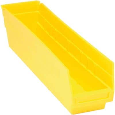 Store-More 6 in. Shelf 8 Qt. Storage Tote in Yellow (20-Pack)