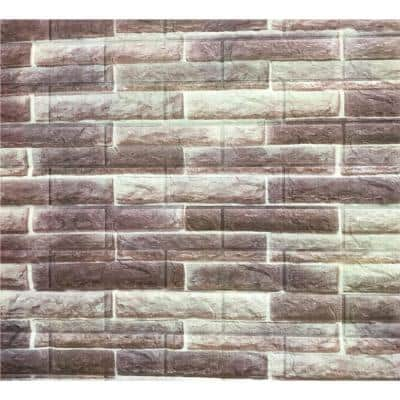 Falkirk Jura 3/10 in. x 28 in. x 30 in. Off-White, Brown Faux Bricks PE Foam Peel-and-Stick Wall Panel (5-Pack)