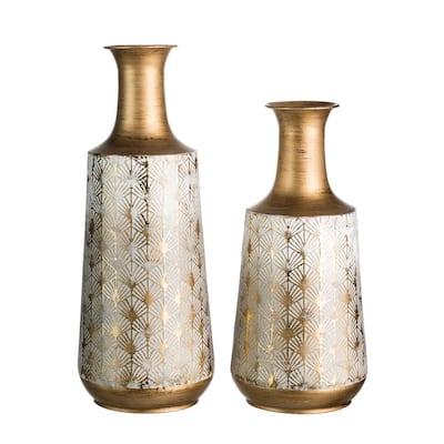 Set of 2 Vintage Gold/White Metal Vase