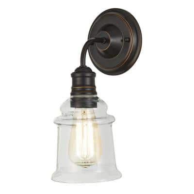 Barden Pointe 5 in. 1-Light Antique Bronze Sconce with Clear Glass Shade