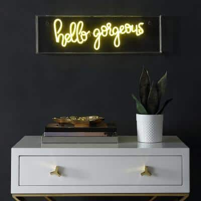 Hello Gorgeous 6 in. Yellow Contemporary Glam Acrylic Box USB Operated LED Neon Lamp