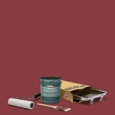 1 gal. #M140-7 Dark Crimson Extra Durable Semi-Gloss Enamel Interior Paint & 5-Piece Wooster Set All-in-One Project Kit