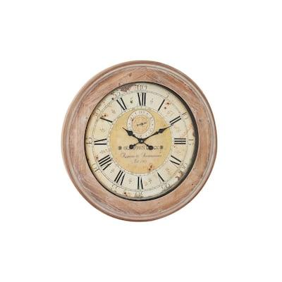 Oversized Round Whitewashed Antique Beige Wood Wall Clock
