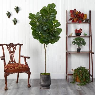 74 in. Fiddle Leaf Fig Artificial Tree in Ribbed Metal Planter