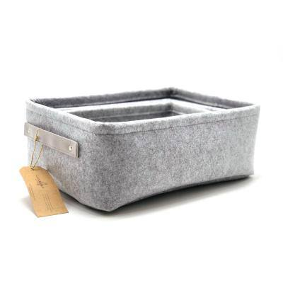 5.9 in. H x 15 in. W x 11 in. D Gray Fabric Cube Storage Bin 3-Pack