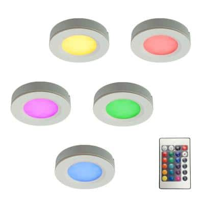 5-PieceRGB LED Puck Light Kit with 12-Volt Plug-In Driver and Remote Controller