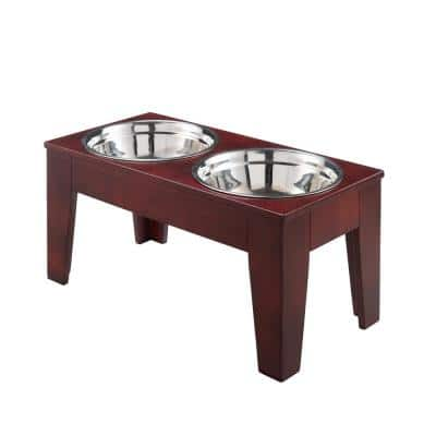 Shaker 40 oz. Solid Pine Elevated Dog Bowl Stand in Mahogany