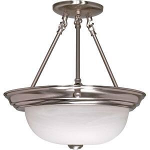 Elektra 3-Light Brushed Nickel Semi-Flush Mount Light with Alabaster Glass