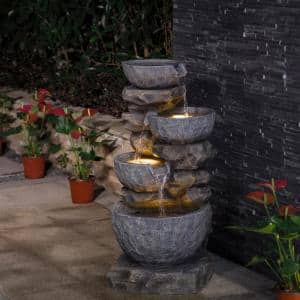 32.25 in. H 4-Tiers Polyresin Waterfall Outdoor Fountain With Pump and LED Lights (KD)