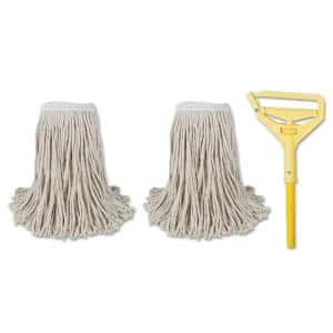 60 in. Natural #24 Yellow Metal/Plastic Handle Commercial Cut-End String Wet Mop Kits