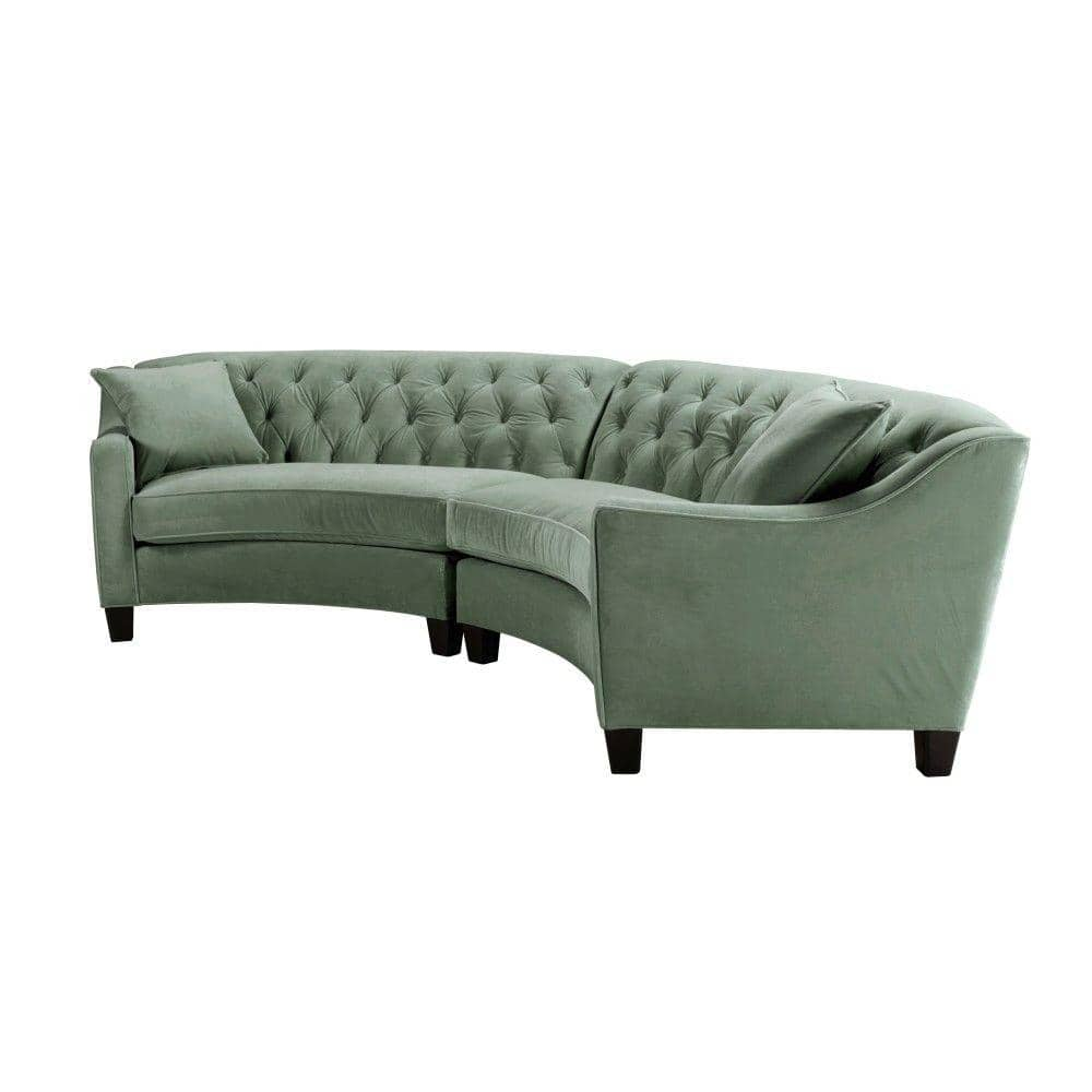 Home Decorators Collection Riemann 2 Piece Blue Mist Microsuede 4 Seater Curved Sectional Sofa With Wood Legs 3931 20 Raf Ss The Home Depot