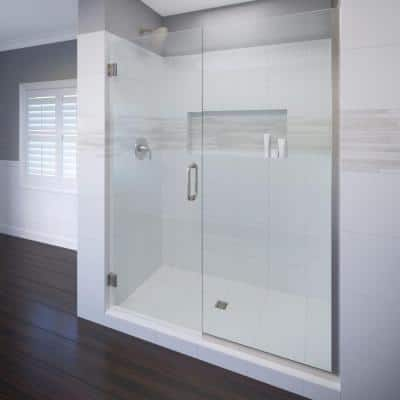 Celesta 47 in. x 76 in. Semi-Frameless Pivot Shower Door in Brushed Nickel with Handle