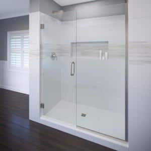Celesta 59 in. x 72 in. Semi-Frameless Pivot Shower Door in Brushed Nickel with Handle