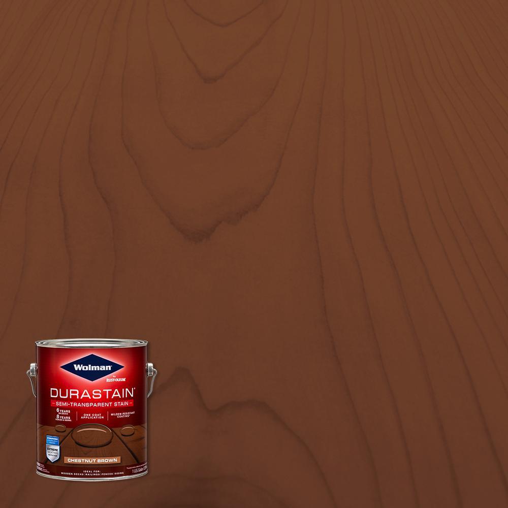 1 gal. Durastain Chestnut Brown Exterior Wood Semi-Transparent Stain (4-Pack)