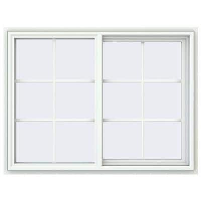 47.5 in. x 35.5 in. V-4500 Series White Vinyl Right-Handed Sliding Window with Colonial Grids/Grilles