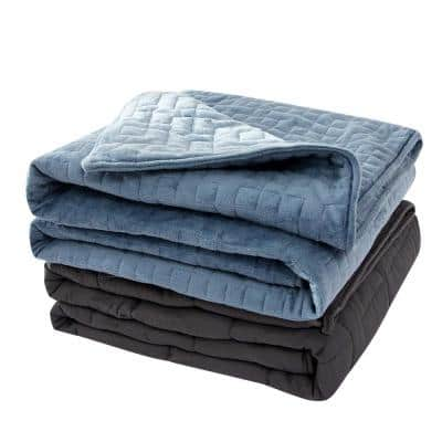 20 lbs. Microfiber Weighted Blanket with Plush Duvet Cover in Blue