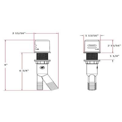Dishwasher Air Gap in Polished Chrome
