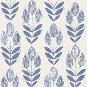 Scandinavian Blue Block Tulip Paper Non-Pasted Wallpaper Roll (Covers 56 Sq. Ft.)