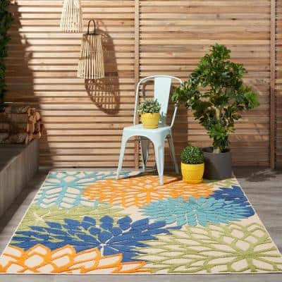 Aloha Multicolor 5 ft. x 7 ft. Floral Modern Indoor/Outdoor Area Rug