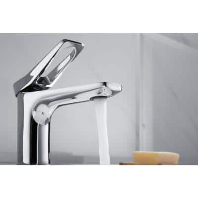 Single Hole Single-Handle Bathroom Faucet with Decking Plate in Polished Chrome