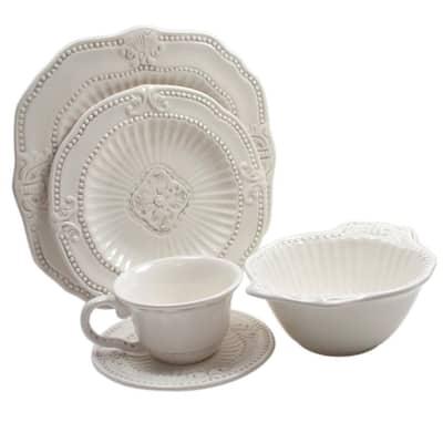 Baroque 20-Piece Formal White Earthenware Dinnerware Set (Service for 4)