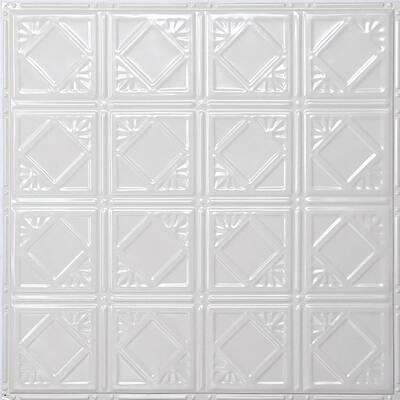 Pattern #19 24 in. x 24 in. Bright White Gloss Tin Wall Tile Backsplash Kit (5 pack)