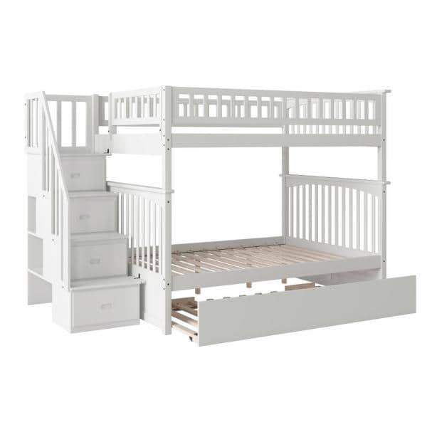 Atlantic Furniture Columbia Staircase White Full Over Full Bunk Bed with Twin Urban Trundle Bed   The Home Depot
