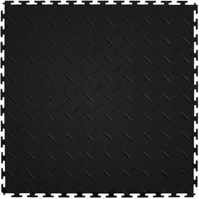 Diamond Plate 1.71 ft. Width x 1.17 ft. Length Black PVC Garage Flooring