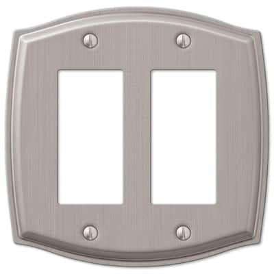 Vineyard 2 Gang Rocker Steel Wall Plate - Brushed Nickel