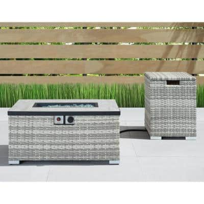 Cheyenne 32 in. x 16 in. Rectangular Wicker Propane Fire Pit Table in Grey with Propane Storage and Protective Cover