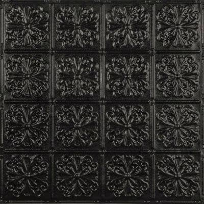 Pattern #27 in Textured Black Satin 2 ft. x 2 ft. Nail Up Tin Ceiling Tile (20 sq. ft./Case)