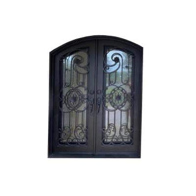 96 in. x 61.5 in. 2-Panel Right-Hand/Inswing 2 Full Lite Clear Glass Bronze Finished Iron Prehung Front Door