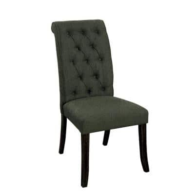 Gray Fabric Upholstered Button Tufted Wooden Side Chair (Set of 2)