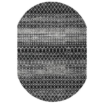 Blythe Modern Moroccan Trellis Black 3 ft. x 5 ft. Oval Rug