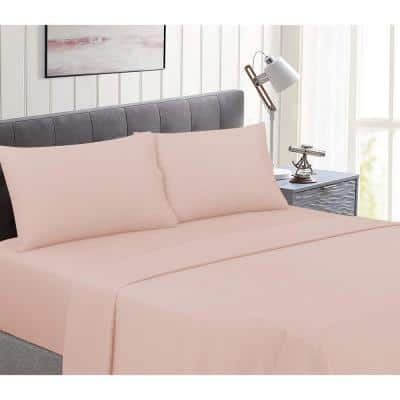 Perfectly Cotton 6-Piece Blush Solid Cotton Queen Sheet Set