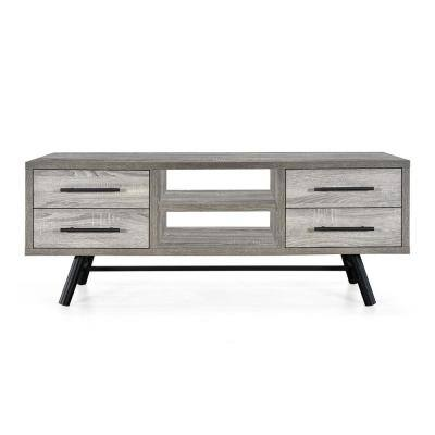 Burgoyne 50 in. Brown Oak TV Stand with 4 Drawer Fits TV's up to 58 in. with Shelves