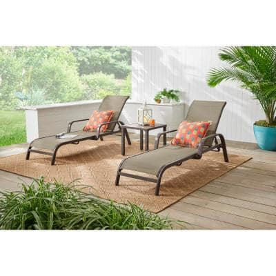Commercial Grade Aluminum Dark Taupe Outdoor Stack Chaise Lounge with Sunbrella Elevation Stone Sling (2-Pack)