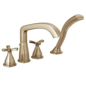 Stryke 2-Handle Deck Mount Roman Tub Faucet Trim Kit with Handshower in Champagne Bronze (Valve Not Included)