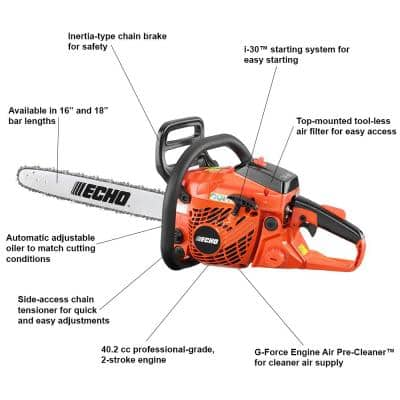 18 in. 40.2 cc Gas 2-Stroke Cycle Chainsaw