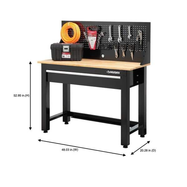 Husky 4 Ft Solid Wood Top Workbench With Pegboard Storage G4801s Us The Home Depot