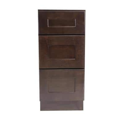 Brookings Plywood Ready to Assemble Shaker 18x34.5x24 in. 3-Drawer Base Kitchen Cabinet in Espresso