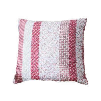 Stripe Rose Quilted 18 in. x 18 in. Throw Pillow