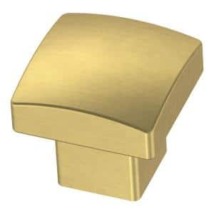 Simply Geometric 1-1/8 in. (28 mm) Brushed Brass Square Cabinet Knob