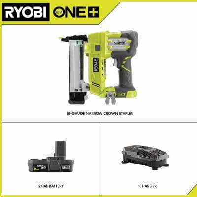 ONE+ 18V AirStrike 18-Gauge Cordless Narrow Crown Stapler Kit with 2.0 Ah Battery and Charger