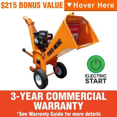 5 in. 14 HP Gas Powered Commercial Chipper Shredder Kit with Electric Start, Hour Meter and Wheel Base Extension