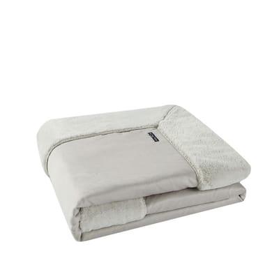 Hopkin 50 in. x 60 in. 1-Piece Gray Plush Microfiber Throw