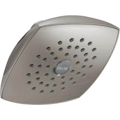 1-Spray 5.3 in. Single Wall Mount Fixed Rain Shower Head in Stainless