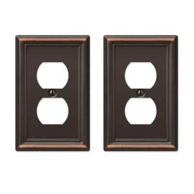 Ascher 1 Gang Duplex Steel Wall Plate - Aged Bronze (2-Pack)