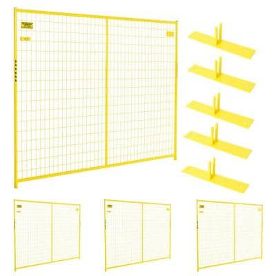 6 ft. x 29 ft. 4-Panel Yellow Powder-Coated Welded Wire Temporary Fencing