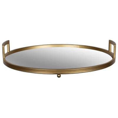 Gold Round Tray with Mirror Inlay